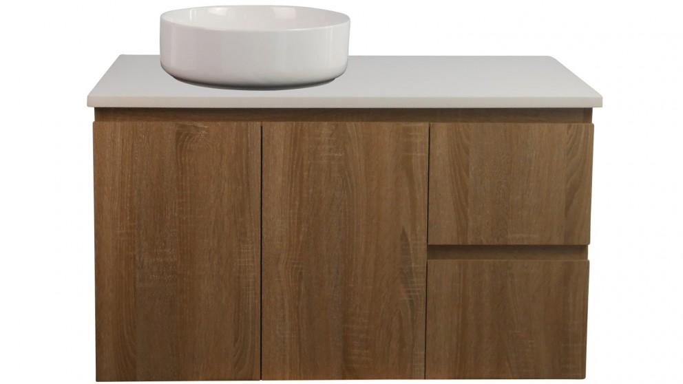 Ledin Mosman 900mm Wallnut Wall Hung Vanity with White Stone Bench Top & Erin 370 Basin