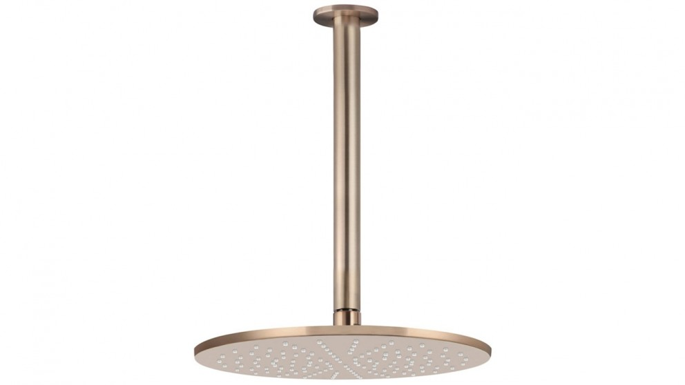 Meir 300mm Rose 300mm Dropper Round Ceiling Shower - Champagne