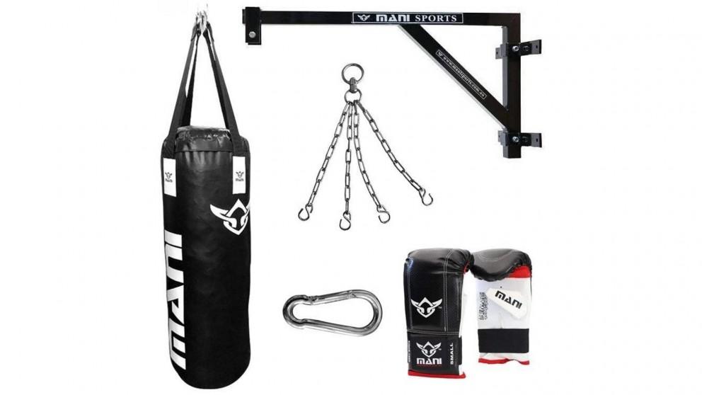 Mani Sports Fixed Wall Bracket + 120cm 4ft Punching Bag + Mitts + Bag Chain + Hook