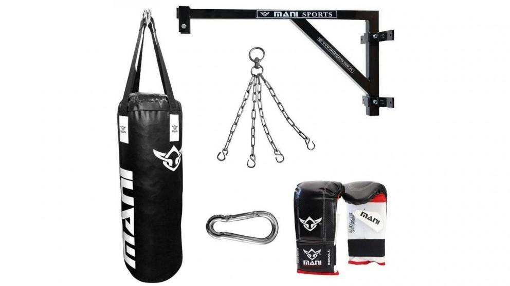 Mani Sports Fixed Wall Bracket + 90cm 3ft Punching Bag + Mitts + Bag Chain + Hook