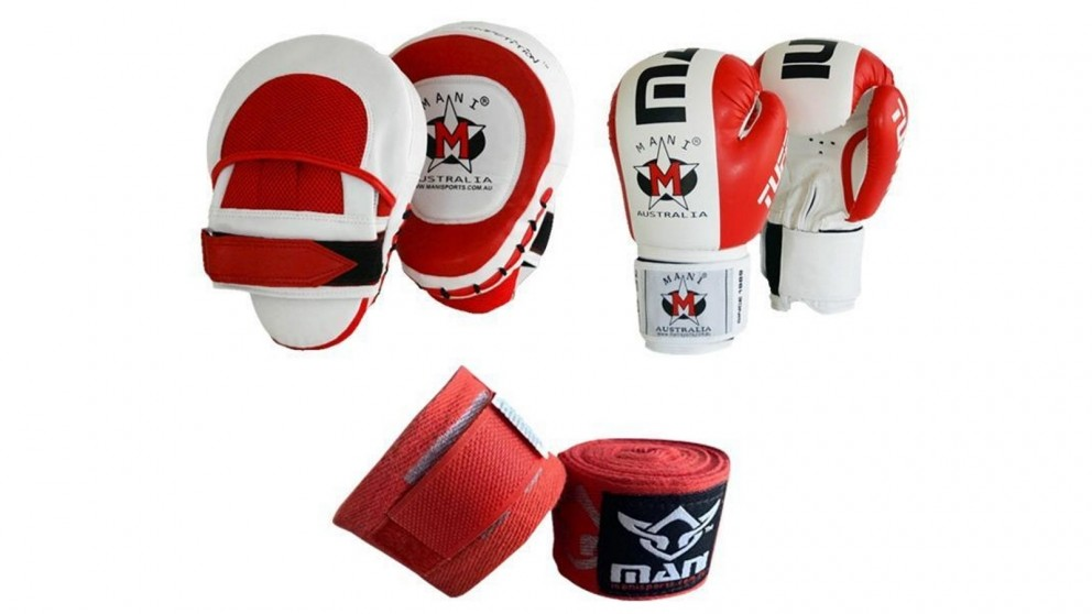Mani Sports Gloves Up Boxing Gloves and Pad Set