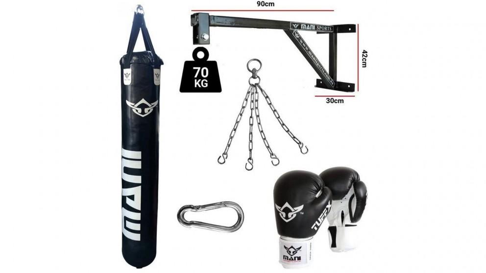Mani Sports Heavy Duty Fixed Wall Bracket + 150cm 5ft Punching Bag + Mitts + Bag Chain + Hook