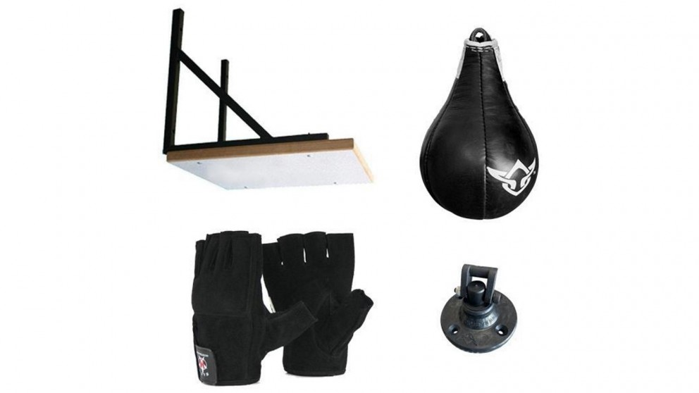 Mani Sports Speedball Frame with Leather Speed Ball and Gloves Bundle