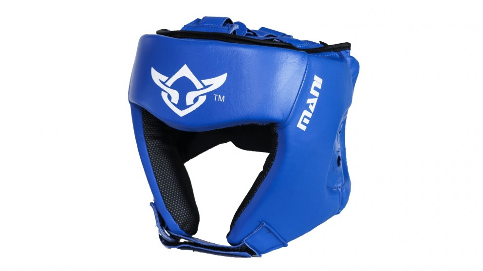 Mani Sports Leather Blue Open Face Pre-moulded Head Guard