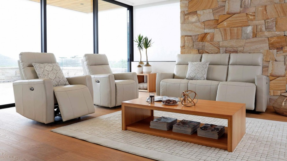 Marli 3 Piece Powered Italian Leather Recliner Lounge Suite