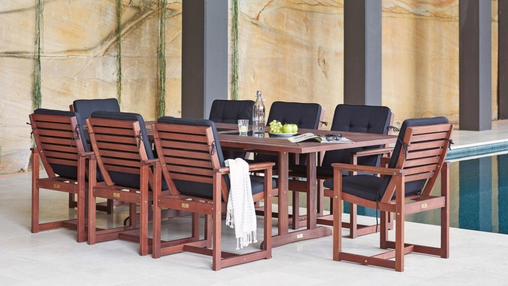 Buy marquise 9 piece outdoor rectangular dining setting for Outdoor furniture harvey norman