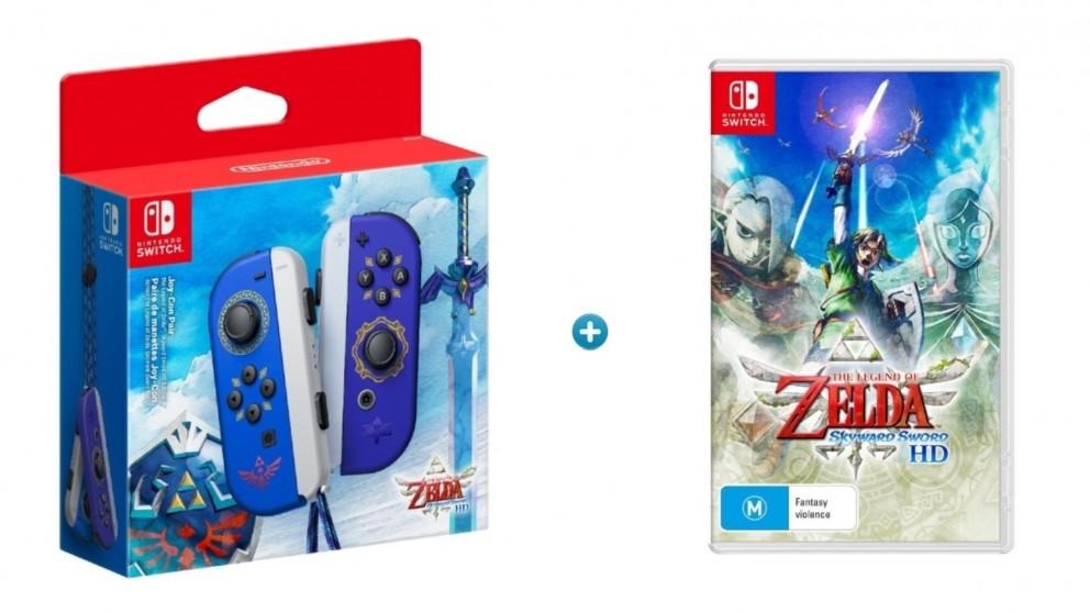 Nintendo Switch Legend of Zelda Joy-Con Controllers with The Legend of Zelda: Skyward Sword Bundle