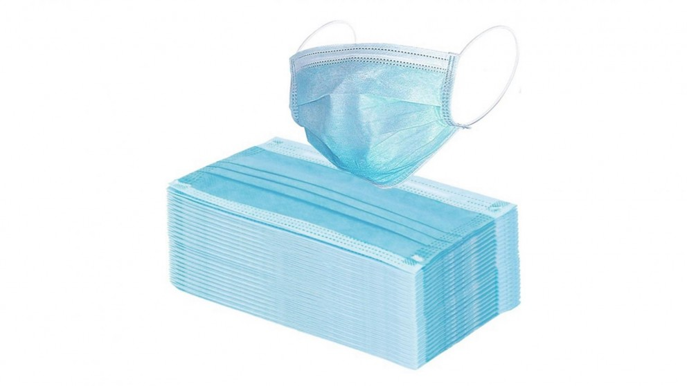 FluFree 50x Pack Disposable 3-Ply Face Masks - Light Blue