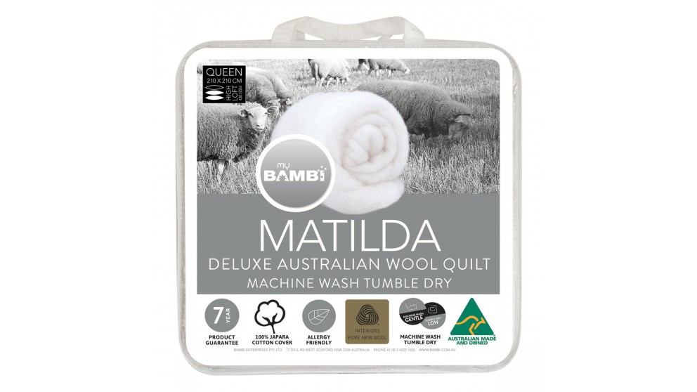 Matilda Woolmark Gold Label All Seasons Duo Single Quilt