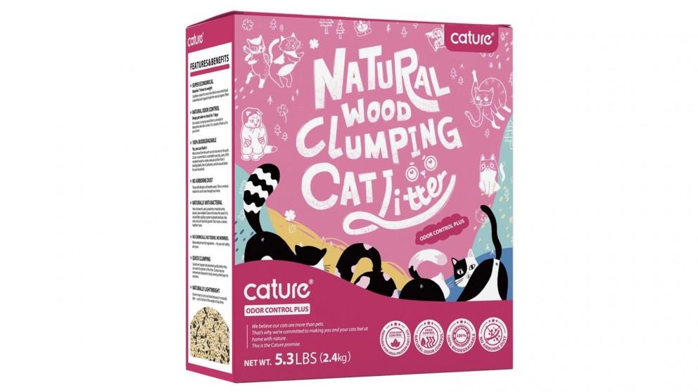 Cature Wood & Plant 6L Fibre Clumping Cat Litter - Odour Control Plus Carbon Pellet