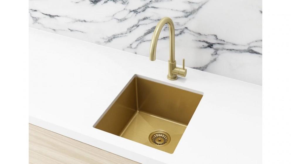 Meir 380x440mm Single Bowl Kitchen Sink - Brushed Bronze Gold