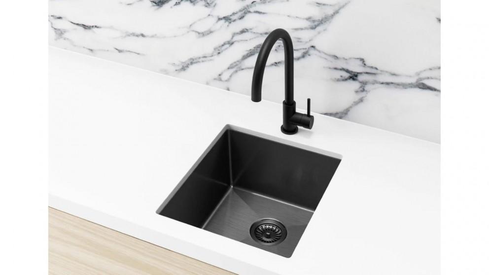 Meir 380x440mm Single Bowl Kitchen Sink - Gunmetal Black