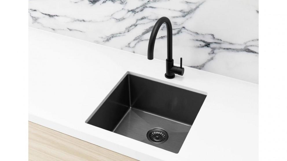 Meir 450x450mm Single Bowl Kitchen Sink - Gunmetal Black