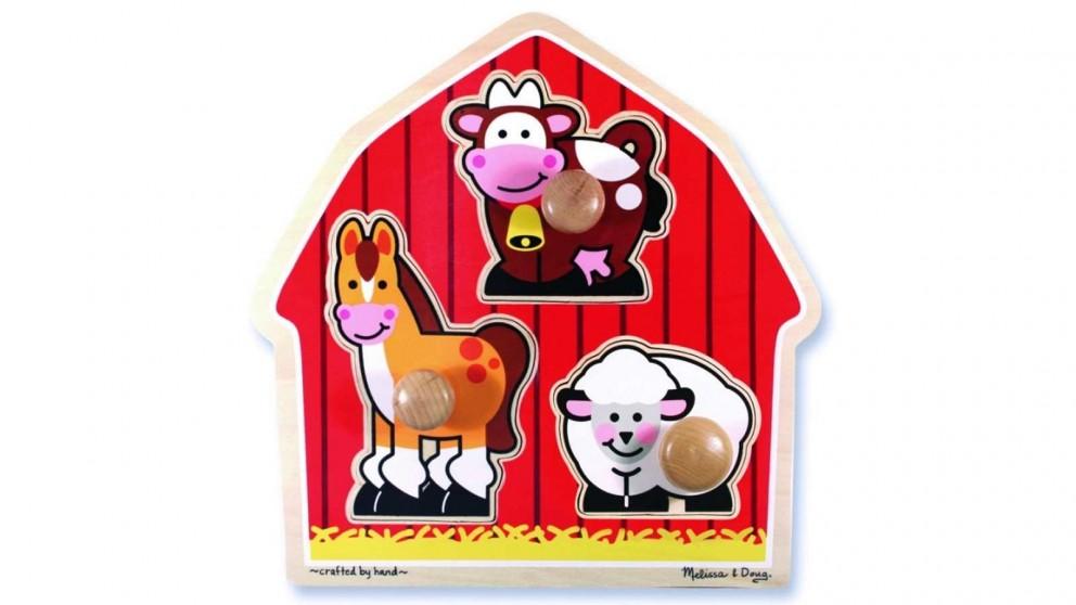 Melissa & Doug Barn Animals 3 Piece Knob Puzzle