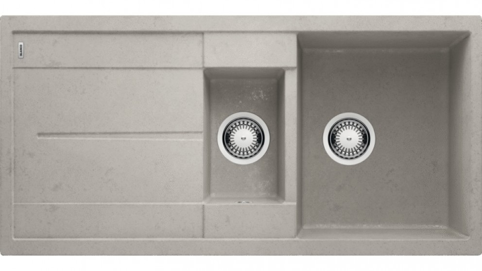 Blanco Metra 6S 1 & 1/4 Bowl Inset Sink with Drainer - Concrete