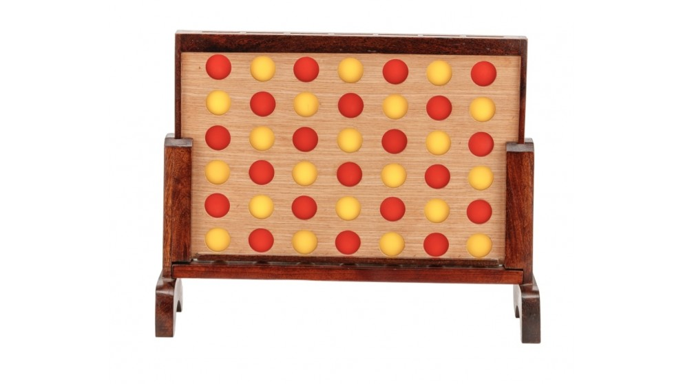 Jenjo Mini Four in a Row Polished Hardwood Game Set