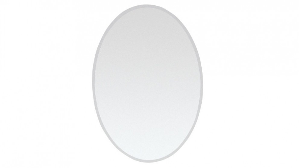 Buy ledin bevelled 500x700 oval mirror harvey norman au for Large flat bathroom mirrors
