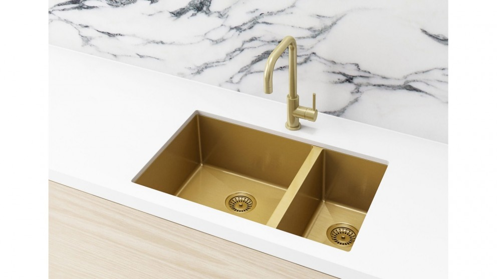 Meir 670x440mm Double Bowl Kitchen Sink - Brushed Bronze Gold