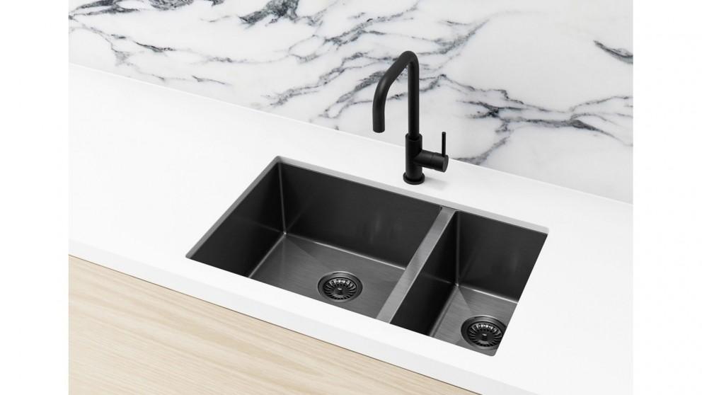 Meir 670x440mm Double Bowl Kitchen Sink - Gunmetal Black