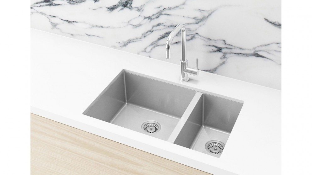 Meir 670x440mm Double Bowl Kitchen Sink - Brushed Nickel