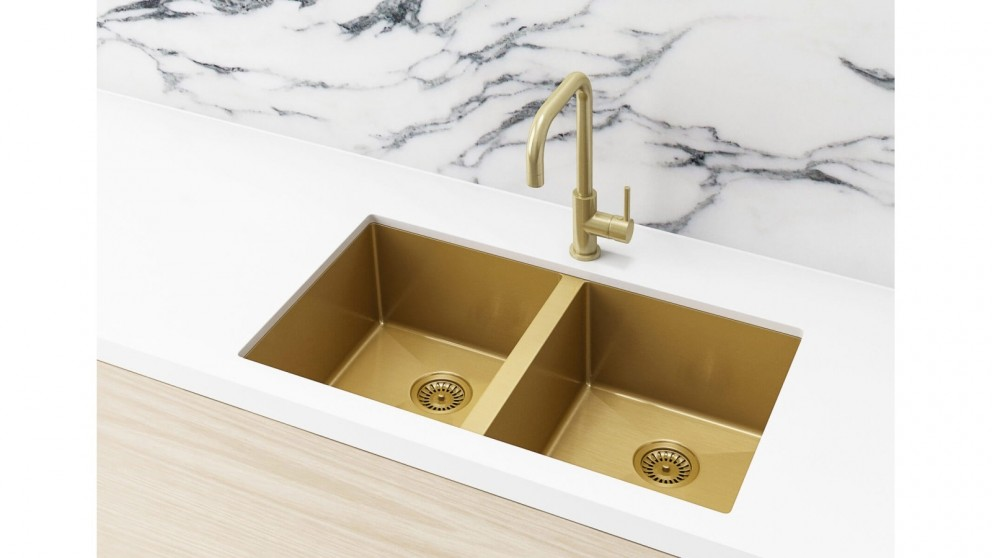 Meir 760x440mm Double Bowl Kitchen Sink - Brushed Bronze Gold