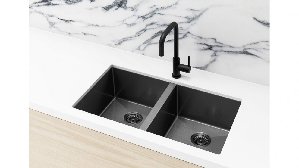 Meir 760x440mm Double Bowl Kitchen Sink - Gunmetal Black