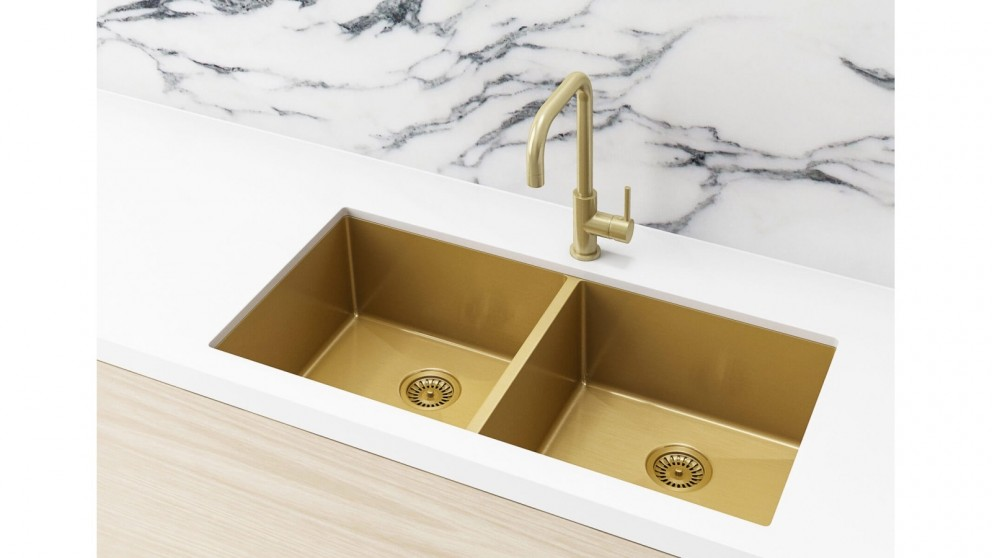 Meir 860x440mm Double Bowl Kitchen Sink - Brushed Bronze Gold