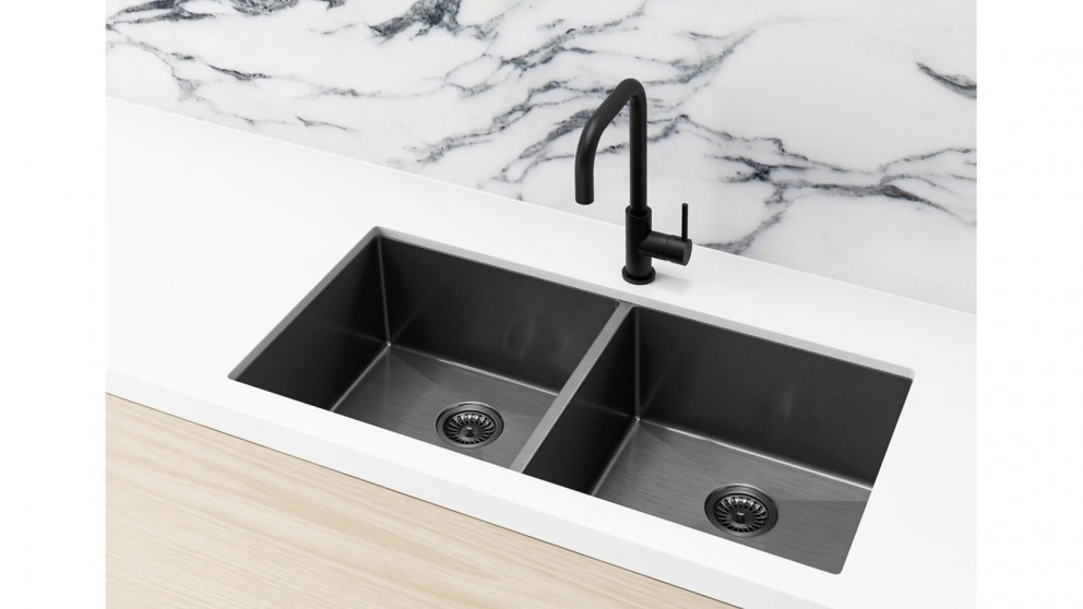 Meir 860x440mm Double Bowl Kitchen Sink - Gunmetal Black