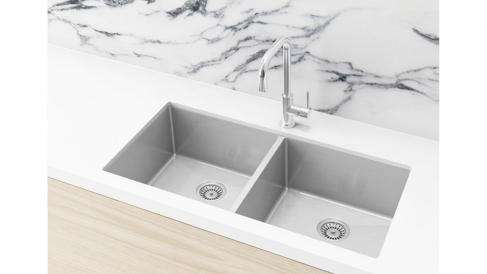 Meir 860x440mm Double Bowl Kitchen Sink - Brushed Nickel