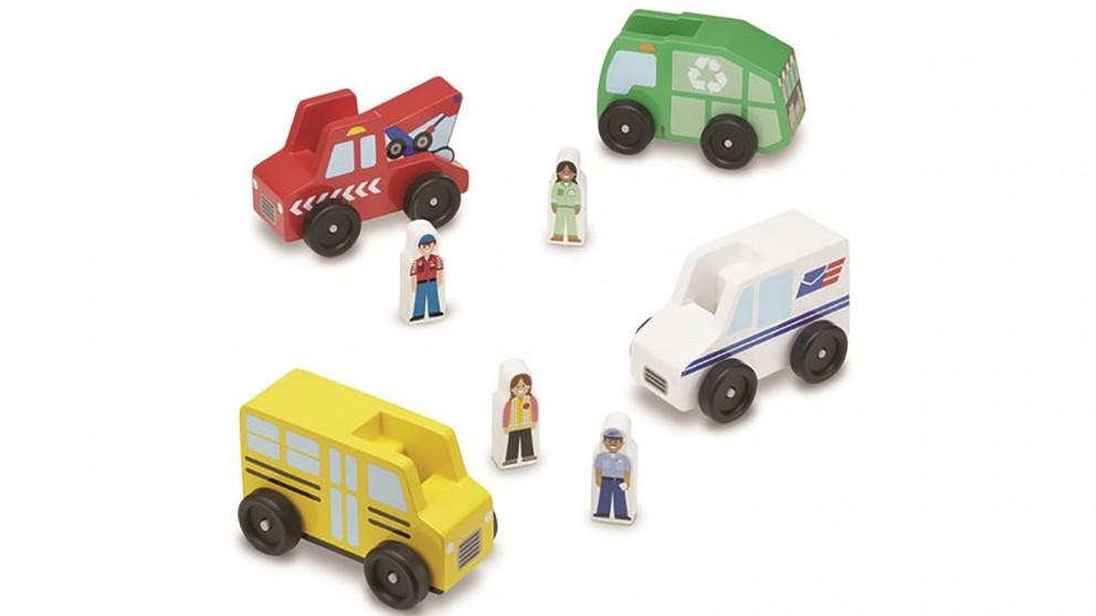 Melissa & Doug Wooden Community Vehicle Set
