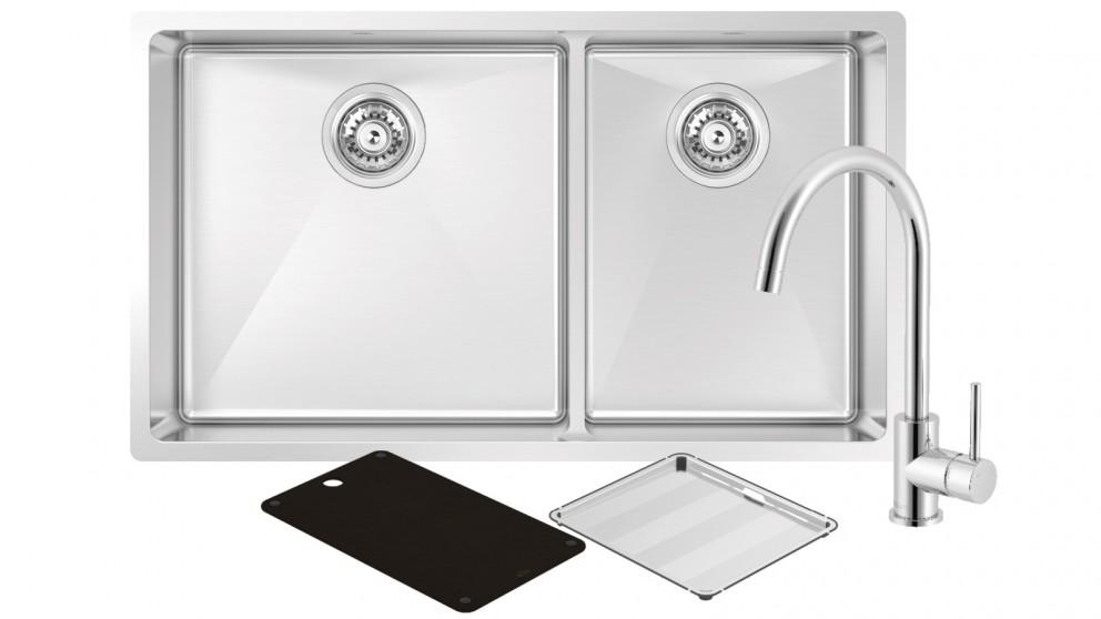 Abey Montego Large Bowl & Three Quarter Bowl Sink with 3K4 Kitchen Mixer