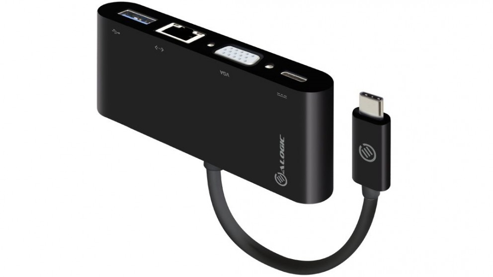 Alogic USB-C to VGA/USB 3.0/Gigabit Ethernet/USB-C MultiPort Adapter with Power Delivery