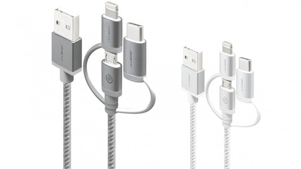 Alogic Prime 1m 3-in-1 Charge & Sync Braided Sleeved Cable
