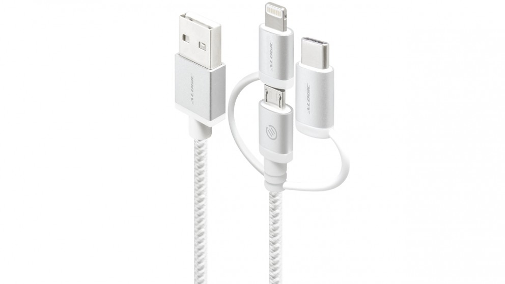 Alogic Prime 1m 3-in-1 Charge & Sync Braided Sleeved Lightning Cable - Silver