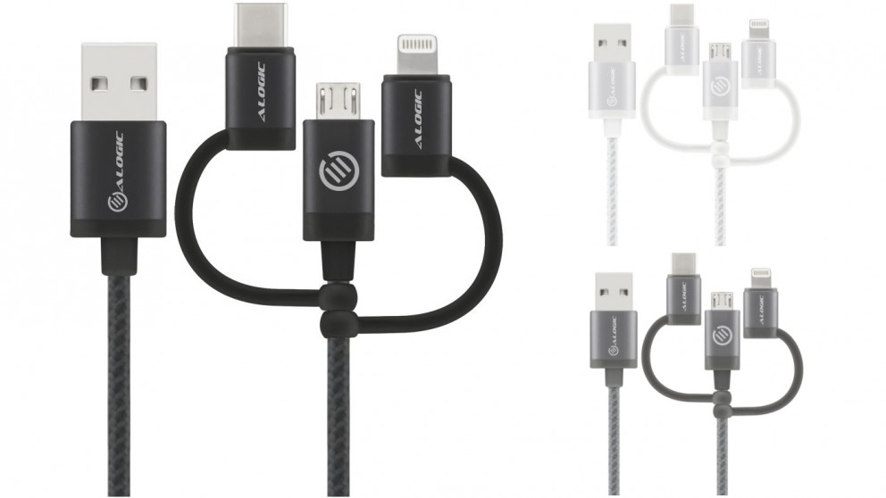 Alogic 30cm 3-in-1 Micro USB + Lightning + USB-C Charge & Sync Cable