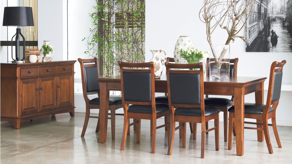 Buy mystiq 7 piece dining setting harvey norman au for Dining room tables harvey norman