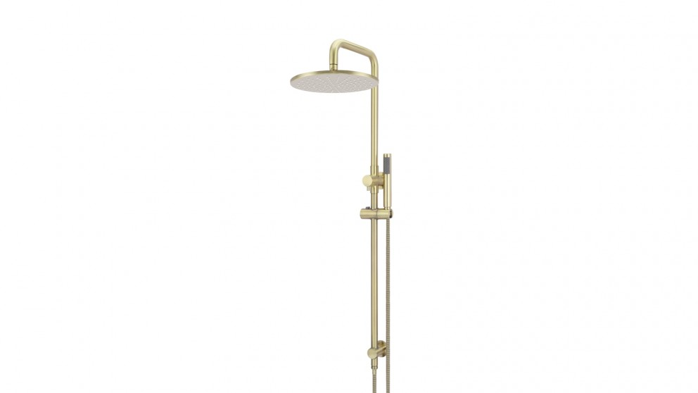 Meir Round 300mm Rose Combination Shower Rail with Single Function Hand Shower - Tiger Bronze Gold