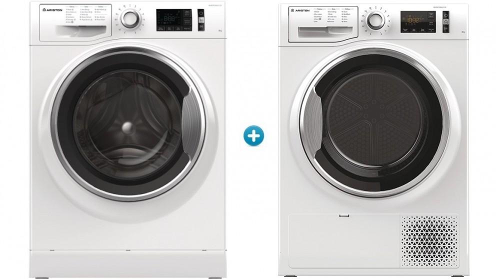 Ariston 9kg Front Load Washing Machine plus 8kg Heat Pump Dryer Package