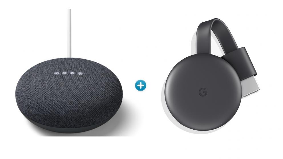 Google Chromecast and Nest Mini Bundle - Charcoal