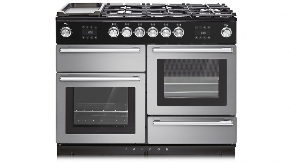 Falcon Nexus Steam 1100mm Chrome Fitting Freestanding Dual Fuel Cooker - Stainless Steel