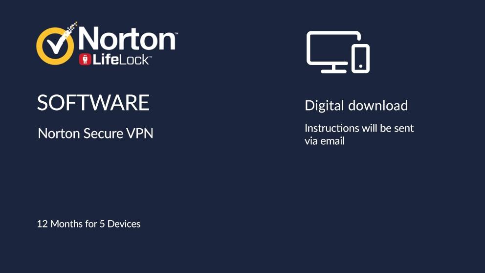 Norton Secure VPN Digital Download - 12 Months for 5 Devices