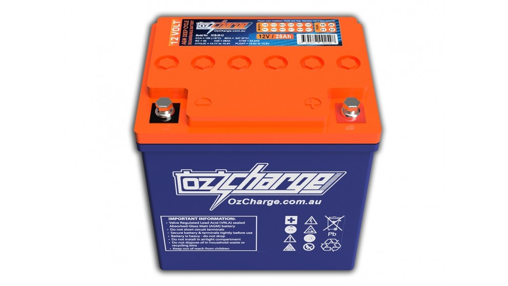 OzCharge 12V 28Ah AGM Deep-Cycle Battery