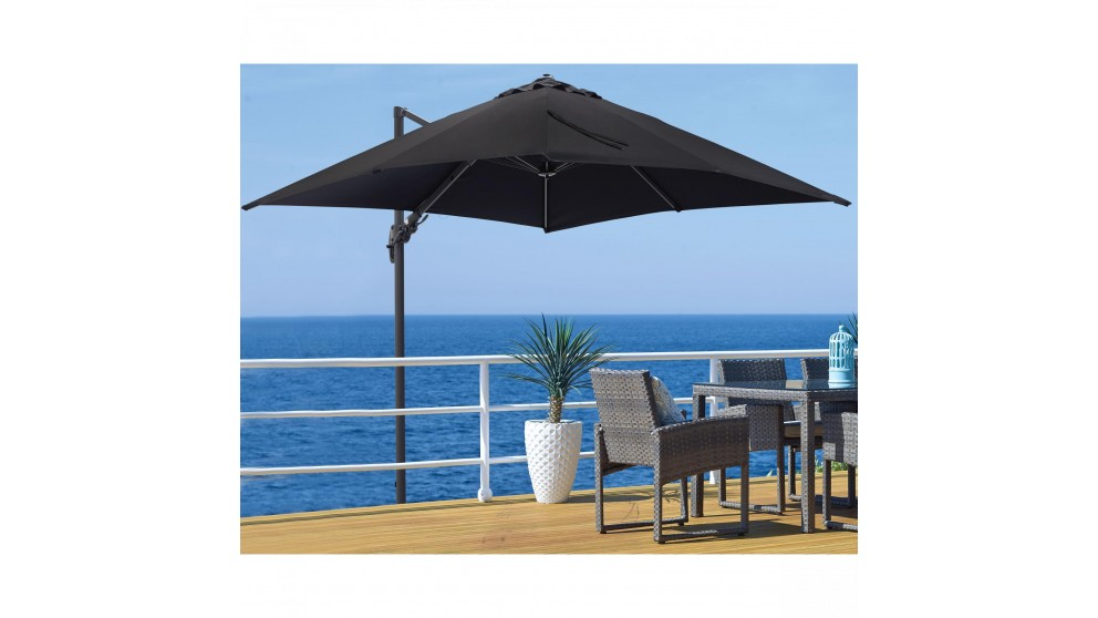 Shine 3 x 3.3m Octagonal Cantilever Outdoor Umbrella - Black