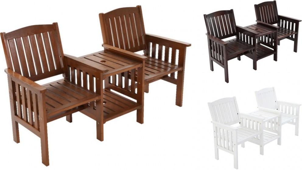 Gardeon Wooden Garden Loveseat Chair and Table