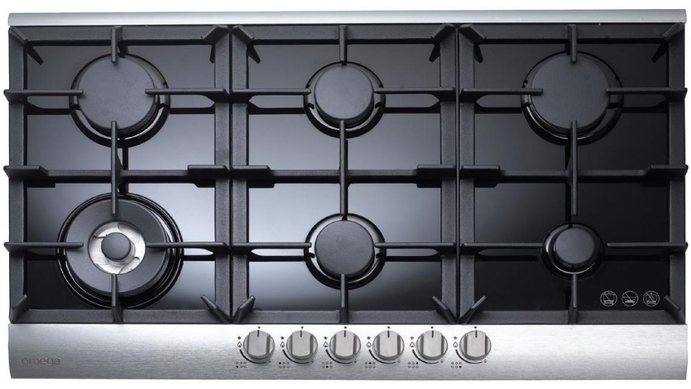 Omega 900mm 6 Burner Gas Cooktop - Black