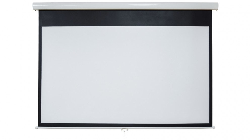 One Product 100-inch Matte White with Black Backing HD Fabric Auto-Lock Manual Projector Screen