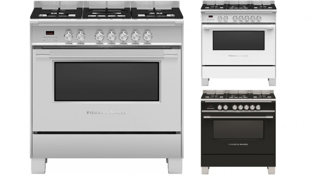 Fisher & Paykel 900mm Freestanding Dual Fuel Cooker with Full Extension Sliding Shelves