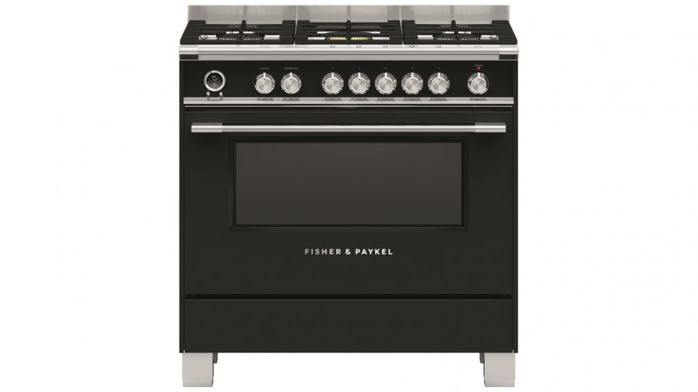 Fisher & Paykel 900mm Pyrolytic Dual Fuel Freestanding Cooker - Black