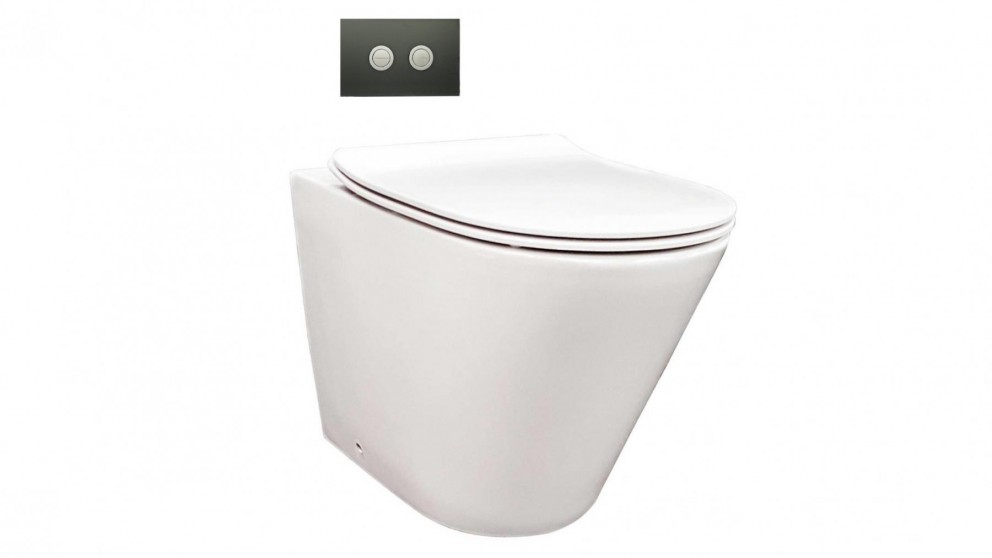 Parisi Linfa Wall Faced Pan with In-Wall Cistern and Black Glass Flush Plate