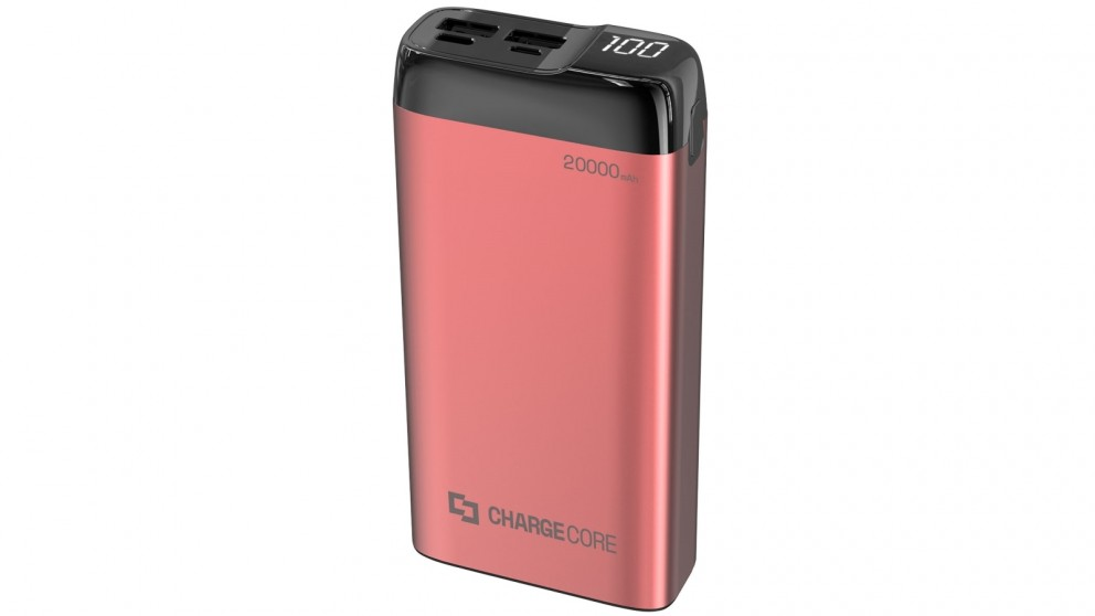 Laser 20000mAh Power Bank with LED Display - Red